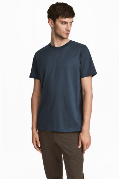 Cotton and silk T-shirt - Dark blue - Men | H&M 1