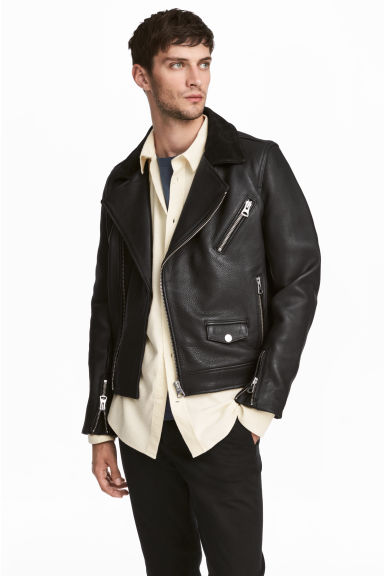 Leather biker jacket - Black - Men | H&M 1