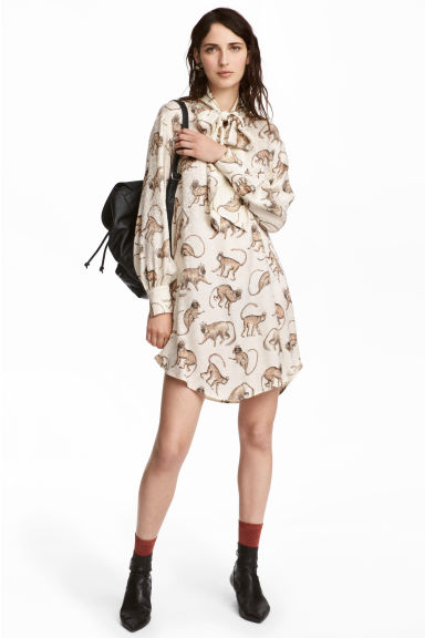 Jacquard-patterned dress - Natural white/Apes -  | H&M
