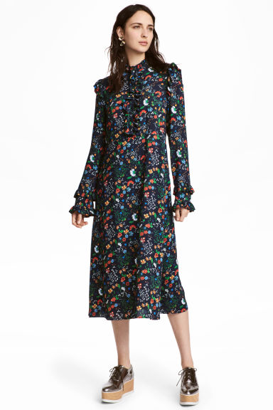 Frill-trimmed dress - Dark blue/Floral - Ladies | H&M CN