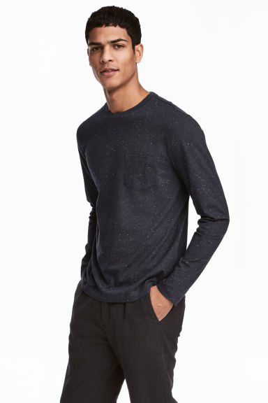 Long-sleeved top - Dark blue - Men | H&M CN
