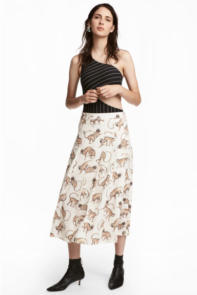 Patterned Skirt - Natural white/patterned - Ladies | H&M CA 1