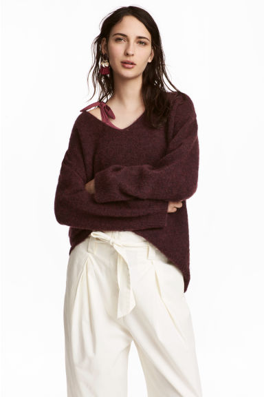 Mohair-blend jumper - Burgundy - Ladies | H&M GB