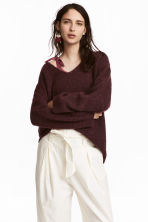 Mohair-blend jumper - Burgundy - Ladies | H&M 1