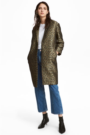 Jacquard-weave coat - Khaki green/Leopard print - Ladies | H&M 1