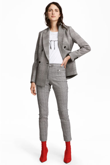 Smart stretch trousers - Dogtooth-patterned - Ladies | H&M 1