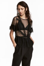 Top a volant in tulle - Nero - DONNA | H&M IT 1