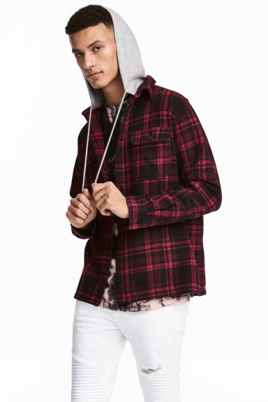 Flannel Shirt with Hood Model