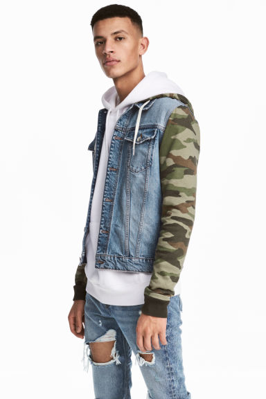 Denim jacket with a hood - Denim blue/Khaki green - Men | H&M CN 1