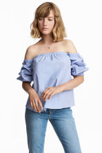 Off-Shoulder-Bluse - Weiss/Blau gestreift - DAMEN | H&M CH 1