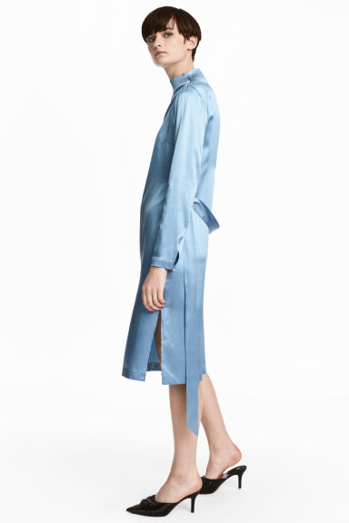 Silk dress - Pigeon blue - Ladies | H&M CN 1