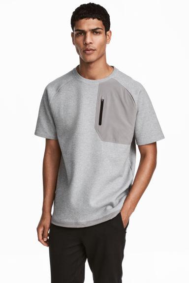 Short-sleeved sports top - Grey marl -  | H&M