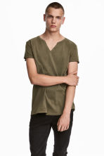 Cotton T-shirt - Khaki green - Men | H&M CN 1