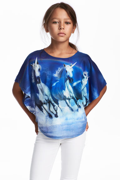 Wide printed top - Blue/Unicorns - Kids | H&M CN 1