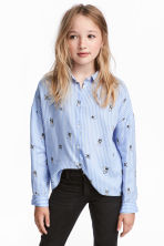 Printed blouse - Light blue/White striped -  | H&M 1