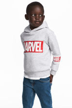Printed hooded top - Light grey marl/Marvel - Kids | H&M 1