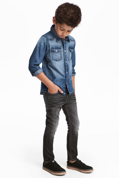 Super Soft Skinny fit Jeans - Zwart washed out - KINDEREN | H&M BE 1