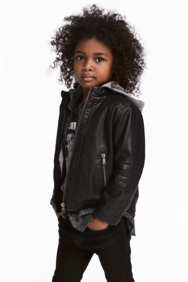 Pile-lined biker jacket - Black -  | H&M 1