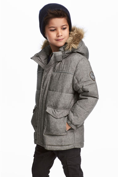 Padded jacket - Grey marl -  | H&M IE