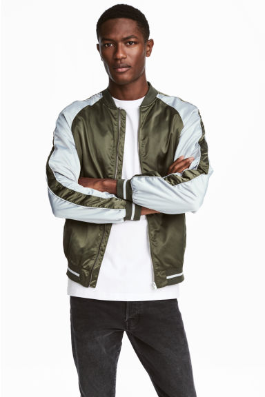 Satin bomber jacket - Khaki green/Light grey -  | H&M
