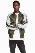 Satin bomber jacket - Khaki green/Light grey - Men | H&M 1