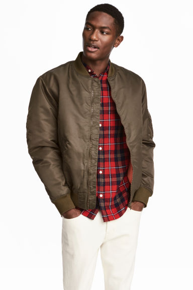 Padded bomber jacket - Dark khaki green - Men | H&M 1