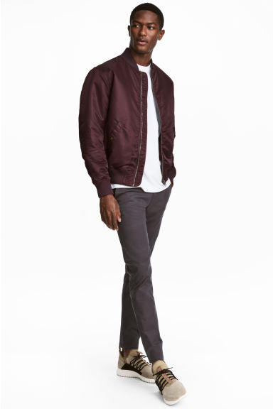 Cotton chinos Skinny fit - Dark grey -  | H&M