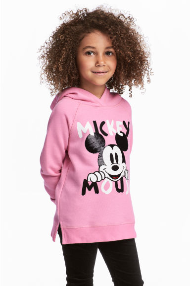 Printed hooded top - Pink/Mickey Mouse - Kids | H&M