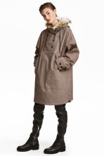 Long anorak with a hood - Brown/Black checked - Ladies | H&M GB 1