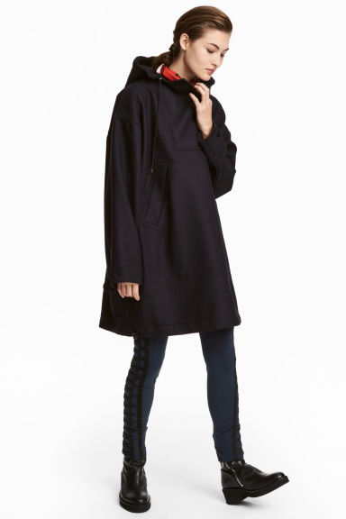 Long wool-blend anorak Model