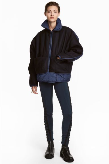 Quilted wool-blend jacket - Dark blue - Ladies | H&M