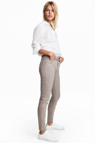 Enkellange stretchbroek - Taupe - DAMES | H&M BE