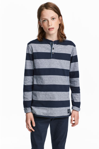 Henley shirt - Dark blue/Striped - Kids | H&M CN