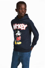 Printed hooded top - Dark blue/Mickey Mouse - Kids | H&M 1
