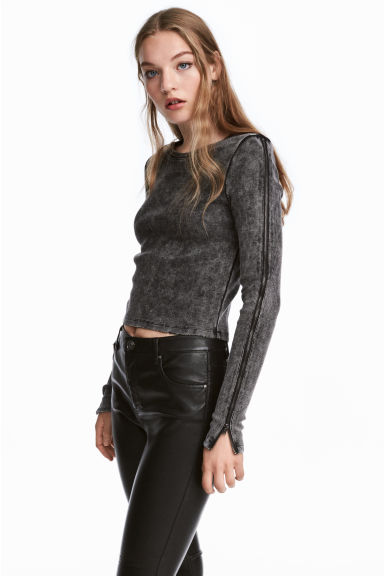 Top with zips - Dark grey - Ladies | H&M 1