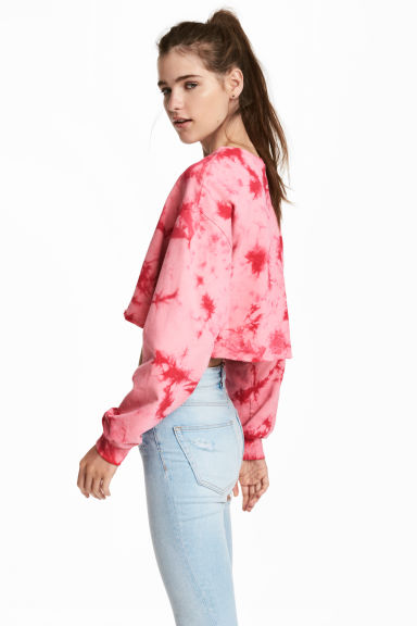 Cropped sweatshirt - Pink/Batik - Ladies | H&M 1