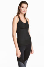 Fitted Sports Tank Top - Black - Ladies | H&M CA 1