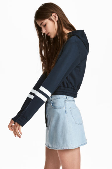Cropped hooded top - Dark blue - Ladies | H&M 1