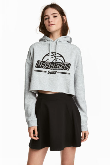 Sweat-shirt à capuche court - Gris chiné -  | H&M BE