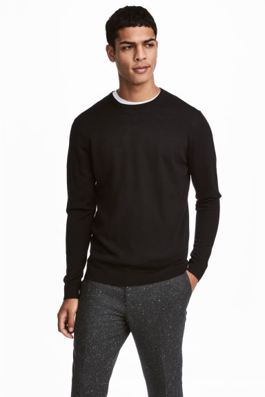 Pullover in lana merinos - Nero - UOMO | H&M IT