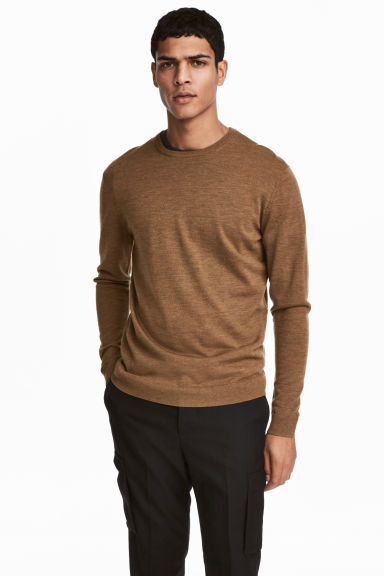 Merino wool jumper - Dark beige - Men | H&M 1