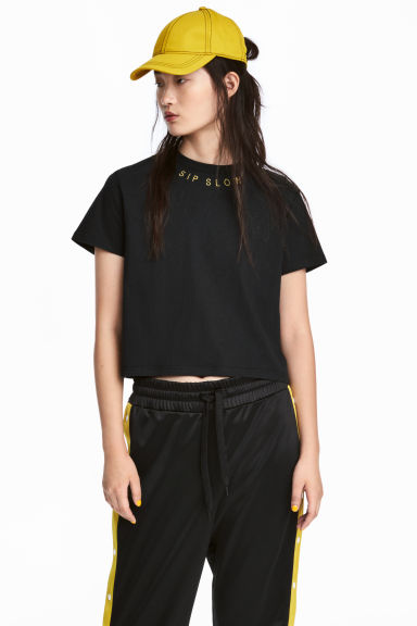 Cropped T-shirt - Black - Ladies | H&M