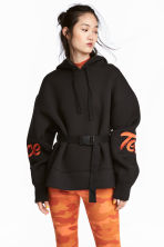Scuba-fabric Hooded Top - Black - Ladies | H&M CA 1