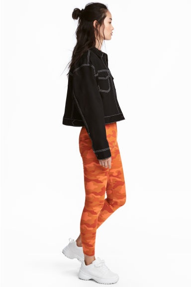 Patterned jersey tights - Orange/Patterned - Ladies | H&M