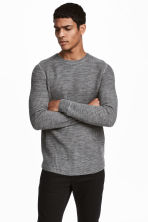 Textured wool-blend jumper - Grey marl - Men | H&M GB 1