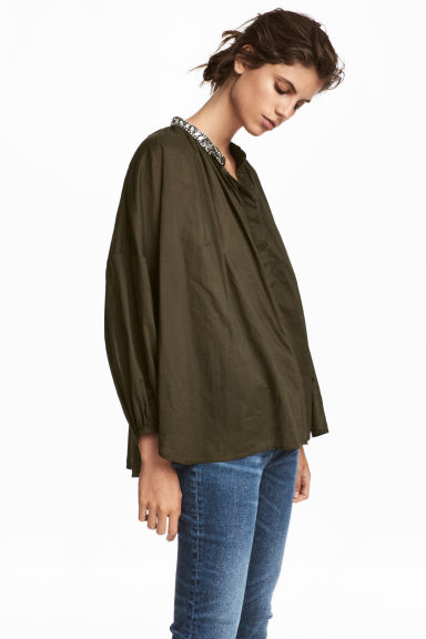 Blouse with sparkly stones - Khaki green - Ladies | H&M IE 1