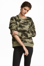 Embroidered sweatshirt - Khaki green/Patterned - Ladies | H&M IE 1