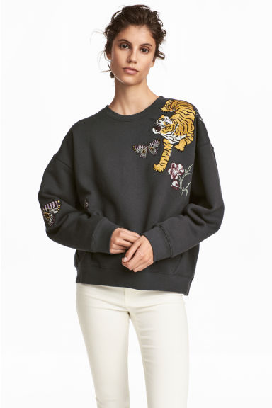 Sweater met applicaties - Donkergrijs - DAMES | H&M NL 1