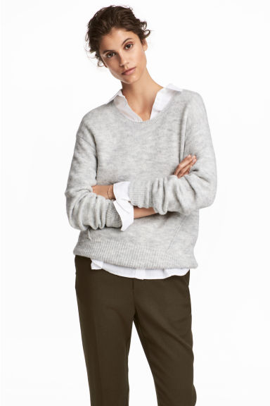 Knitted jumper - Light grey - Ladies | H&M IE 1