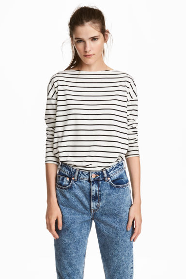 長袖平紋上衣 - White/Striped - Ladies | H&M 1